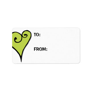 Heart Motif green heart Large Gift Tag Label