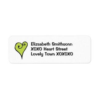 Heart Motif green heart Return Address Label