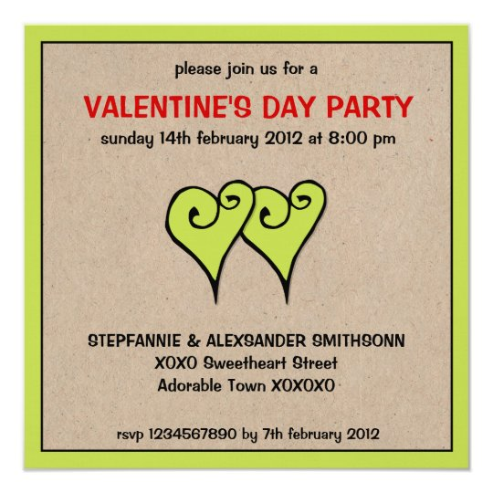 Heart Motif green kraft Valentine's Day Party Card