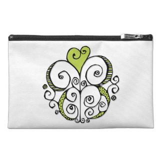 Heart Motif green Travel Accessory Bag