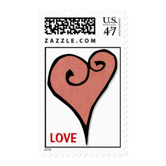 Heart Motif red heart Stamp