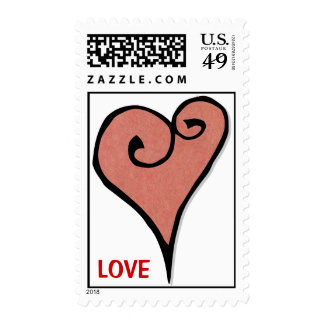 Heart Motif red heart Stamp