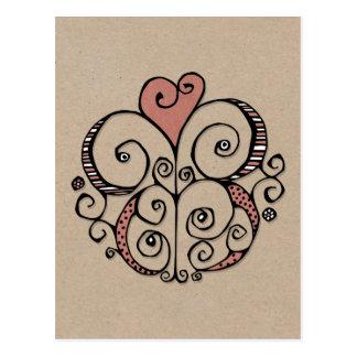 Heart Motif red kraft Postcard