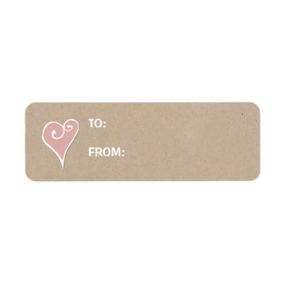 Heart Motif white heart kraft Small Gift Tag Label