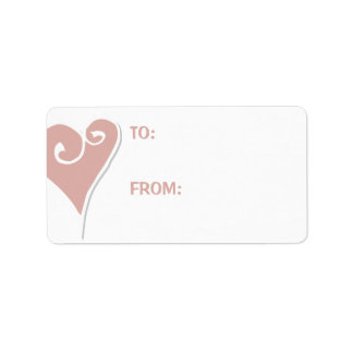 Heart Motif white heart Large Gift Tag Label