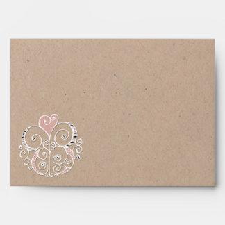 Heart Motif white kraft A7 Card Envelope