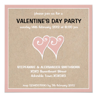 "Heart Motif white kraft Valentine's Day Party 5.25"" Square Invitation Card"