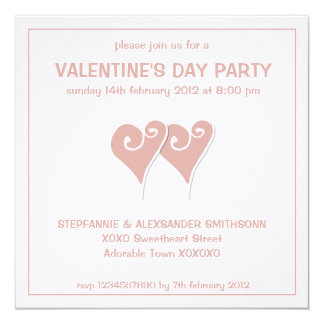 Heart Motif white Valentines Day Party Invitation