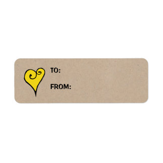 Heart Motif yellow heart kraft Small Gift Tag Label
