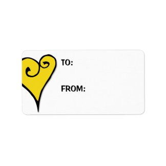 Heart Motif yellow heart Large Gift Tag Label