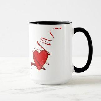 Heart motive coffee cup