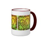 Heart Mug - Stitched Heart - Yellow Green Red