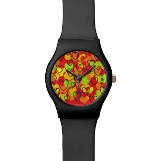heart multicolor red St Valentine shows Wrist Watch