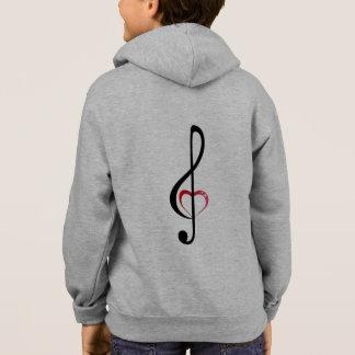 Heart music clef kid's hoodie