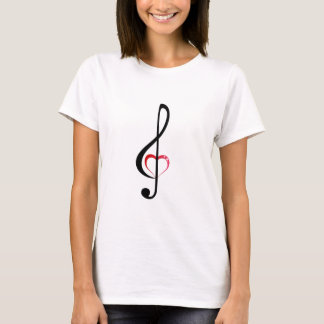 Heart music clef on woman's shirt