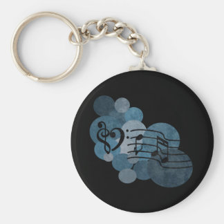 Heart music clefs and blue polka dots basic round button keychain