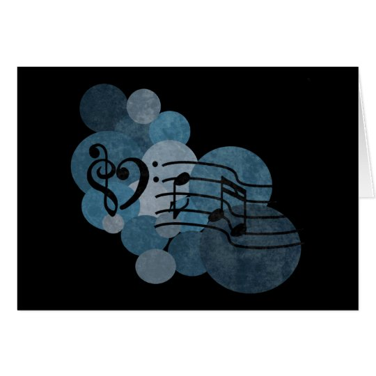 Heart music clefs and blue polka dots card