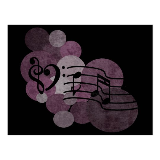 heart music clefs and indigo polka dots postcard