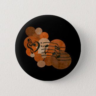 Heart music clefs and orange / autumn polka dots pinback button