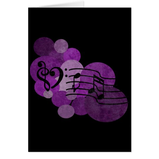 heart music clefs and purple polka dots card