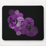 heart music clefs and purple polka dots mouse pad