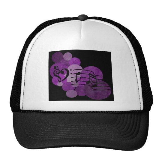 heart music clefs and purple polka dots trucker hat