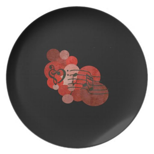 heart music clefs and red polka dot melamine plate