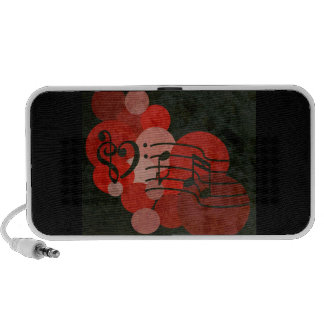 heart music clefs and red polka dot speaker