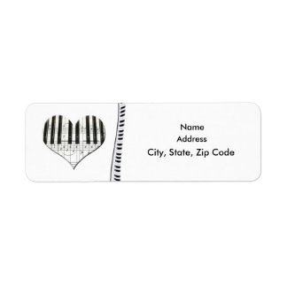 Heart Music Notes Keyboard Grand Piano Label