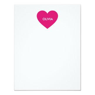 Heart nameplate custom note cards