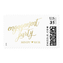 Heart & Names Gold & White Engagement Postage