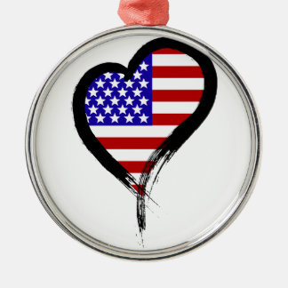 Heart Nation 01 Round Metal Christmas Ornament