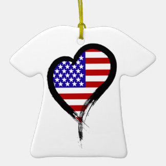 Heart Nation 01 Double-Sided T-Shirt Ceramic Christmas Ornament