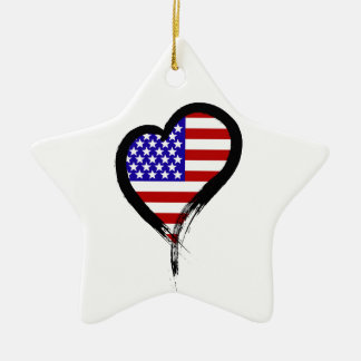 Heart Nation 01 Double-Sided Star Ceramic Christmas Ornament