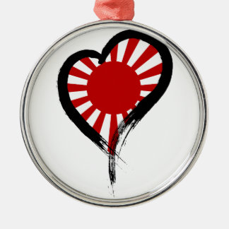 Heart Nation 05 Round Metal Christmas Ornament
