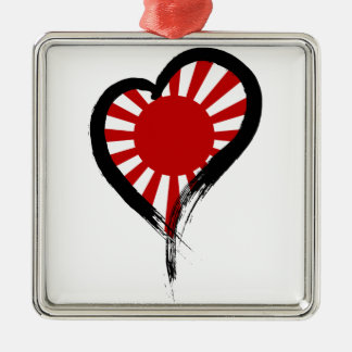 Heart Nation 05 Square Metal Christmas Ornament