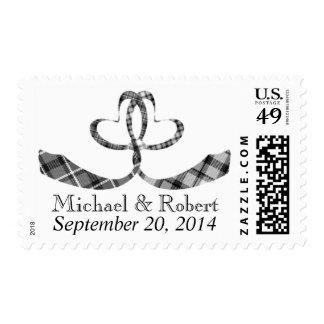 Heart Neckties Knot   Same Gender Wedding Invite Postage Stamp