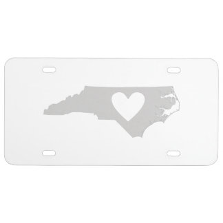 Heart North Carolina state silhouette License Plate