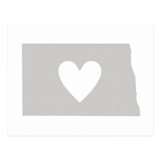 Heart North Dakota state silhouette Postcard
