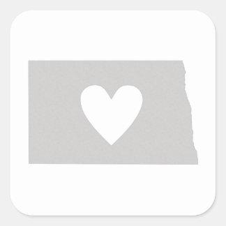 Heart North Dakota state silhouette Square Sticker