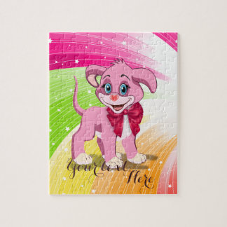 Heart Nose Pink Puppy Cartoon Jigsaw Puzzle