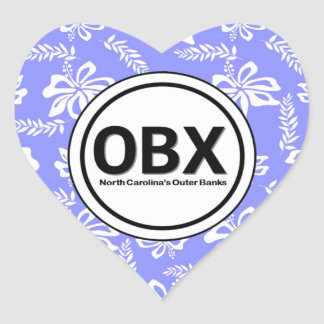 Heart OBX Outer Banks Flower Stickers