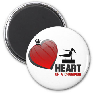 Heart of a Champion Gymnastics 2 Inch Round Magnet