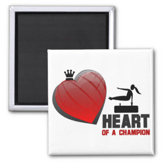 Heart of a Champion Gymnastics 2 Inch Square Magnet