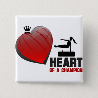Heart of a Champion Gymnastics Pinback Button