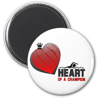 Heart of a Champion Swimming Magnet