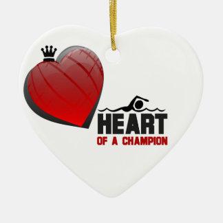 Heart of a Champion Swimming Ornament