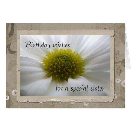 Heart of a Flower Sister Birthday Card
