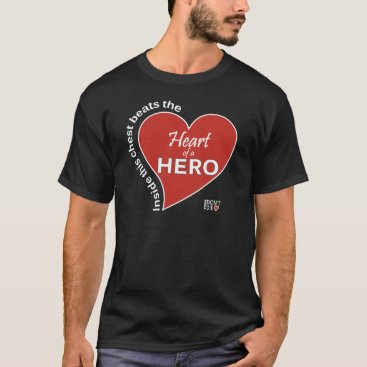 Valentines Themed Heart of a Hero - Dark T-Shirts