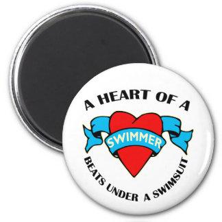 Heart of a Swimmer Fridge Magnets